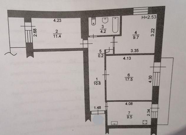 3х комнатная квартира в кирпичном доме!