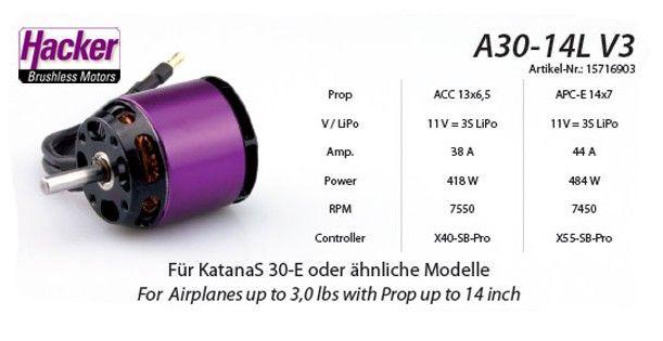 Бесколлекторный мотор Hacker A30-14L V4