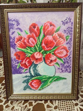 """Картина вышитая """"Тюльпаны"""""""