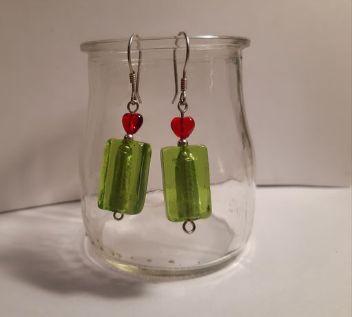 Kolczyki ze srebra pr. 925 + szkło weneckie zielone