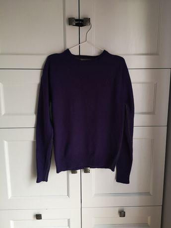 Fioletowy wełniany sweter Frank Q, rozmiar M