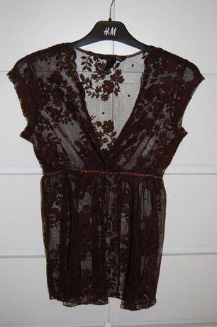 Brązowa elegancka bluzeczka koronka H&M r. XS 34