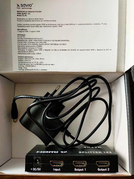 spliter, rozdzielacz sygnału HDMI, switch, nowy, Savio , z zasilaczem