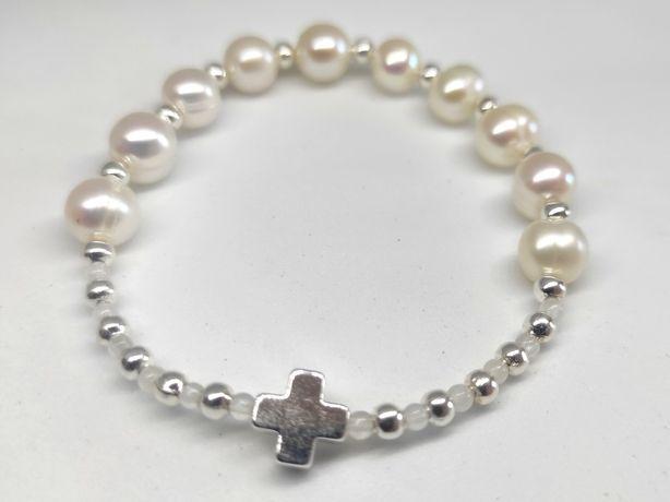 Bransoletka różaniec na rękę na gumce perły biały perłowy