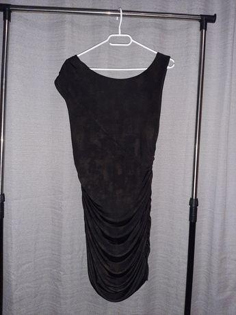 Czarno złota asymetryczna drapowana sukienka z dekoltem woda z tyłu M