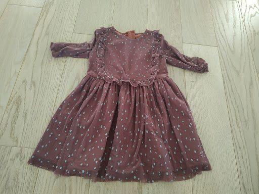 Sukienka brązowa w mieniące kropki rozmiar około 92-98