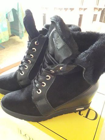 Ботинки зима на платформе кожаные