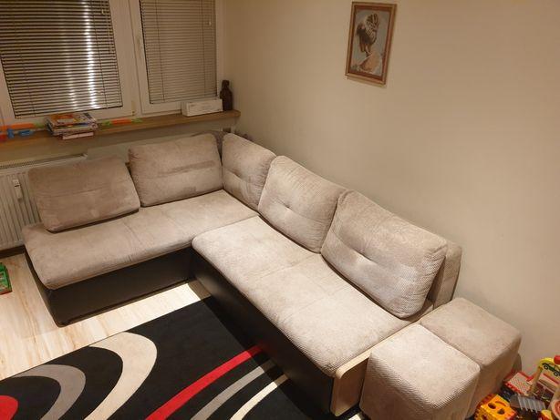 Rogówka kanapa narożna sofa wersalka łóżko black red agata