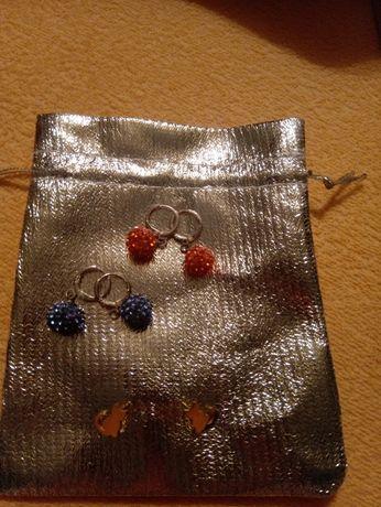 Kolczyki ze srebrnym zapięciem  dla dziewczynki mix