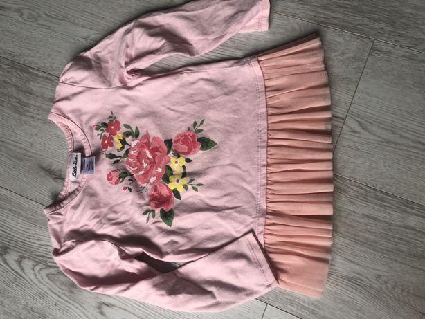Bluzka dlugi rekaw 104 z kwiatkami i baskinka falbanka tiulowa rozowa