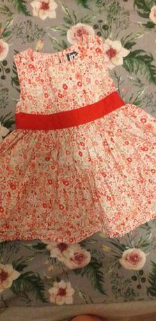 Sukienka Dziewczęca Kwiaty Kokarda
