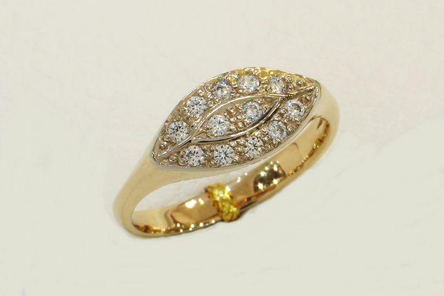 Złoty pierścionek z cyrkoniami 585 r. 15 - CHORZÓW- Zapytaj o rabat!