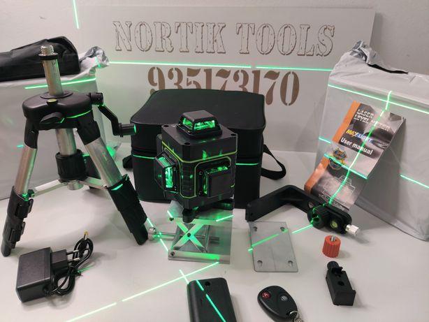 Nivel Laser auto-nivelante 16 Linhas verde, 2 BATARIAS!!! com COMANDO.