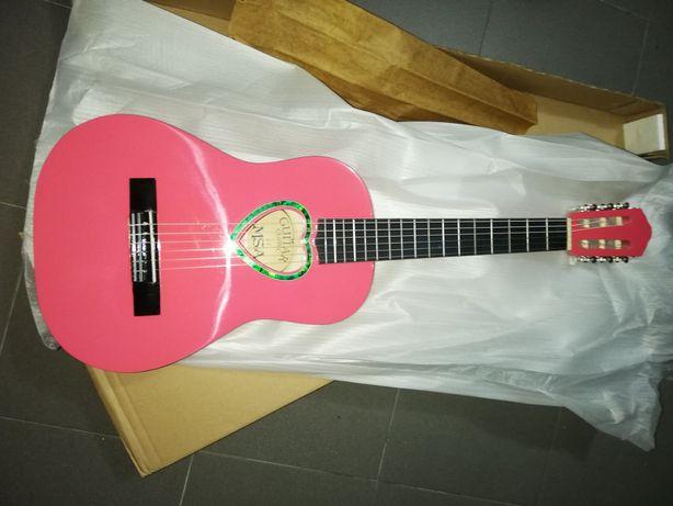 Guitarra clássica 1/2 rosa e kit para crianças