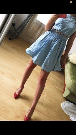 Sukienka cropp z rozcięciami błękitna xs 34