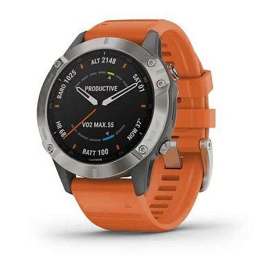 Годинник Garmin Fenix 6 Sapphire Titanium з помаранчевим ремінцем