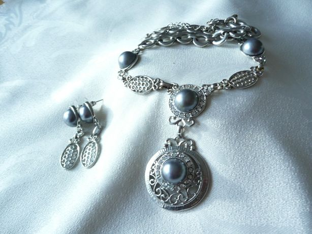 Naszyjnik kolia srebro szara perła