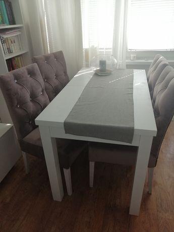 Stół rozkładany z krzesłami glamour 4 szt.