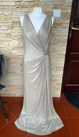 Sukienka złota cekinowa maxi Ralph Lauren