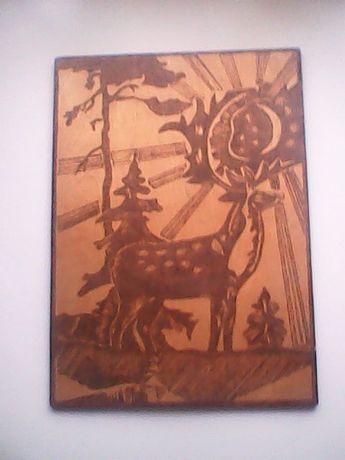Картина Олень фанера, выжигание по дереву (пирография)