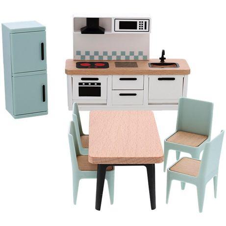 NOWY zestaw mebelków do domku dla lalek meble kuchnia salon łazienka
