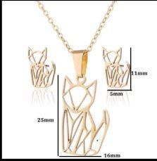 Zestaw kolczyki, naszyjnik i łańcuszek stal chirurgiczna (złote kotki)