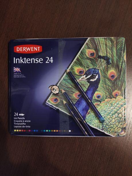 Набор акварельных карандашей Derwent Inktense 24 цвета металлический