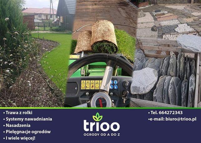 Usługi ogrodnicze, nawodnienie ogrodu, trawa z rolki, pielęgnacja