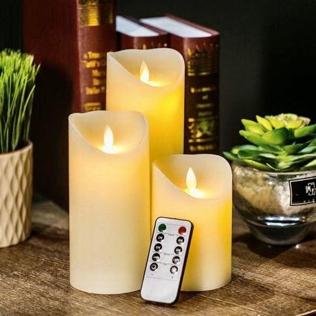 АКЦИЯ! Электронные Светодиодные свечи Luma Candles с пультом Набор 3шт