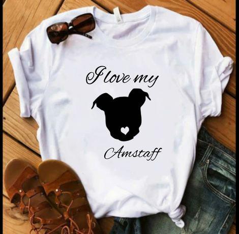 Koszulka bluzka t-shirt pies amstaff i love S-XXL