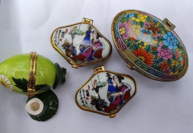 Фарфоровые миниатюрные шкатулки 3 шт.