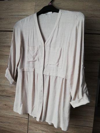 Bluzka koszulowa Reserved len beż 38
