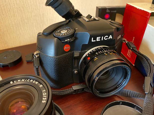 Aparat LEICA R8 +obiektywy 35mm 50mm 90mm lampa wizjer zestaw