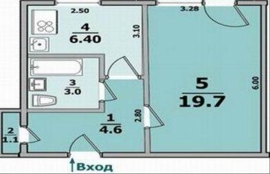 Квартира 1 к., 1-й этаж, не угловая