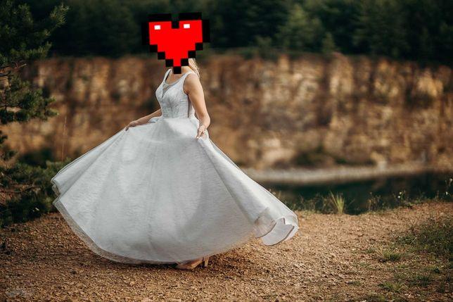 Suknia ślubna brokatowy wzór