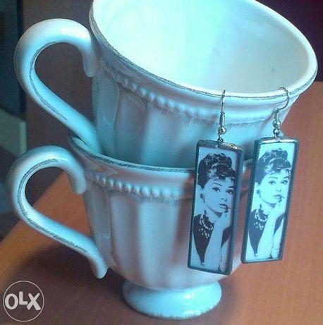 Kolczyki damskie, długie, prostokątne, wzór, Audrey Hepburn