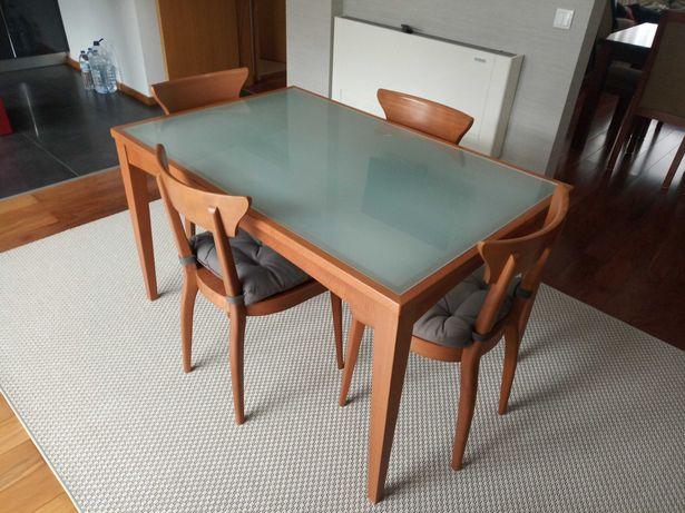 Mesa refeição com 4 cadeiras (cerejeira) imaculada