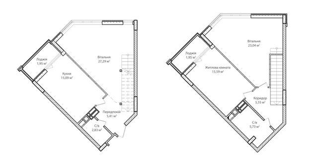 Двухуровневая 3к + Кухня-студия. Гардероб. 2 с/у 2 балкона. Дом готов!