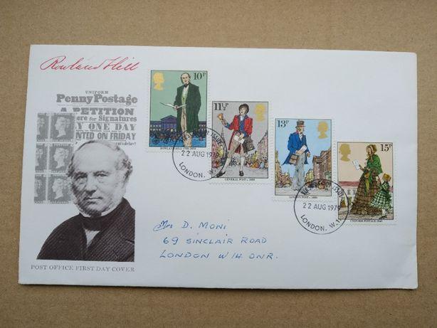 Роуленд Хилл конверт первого дня 24 октября 1979 года + вставка