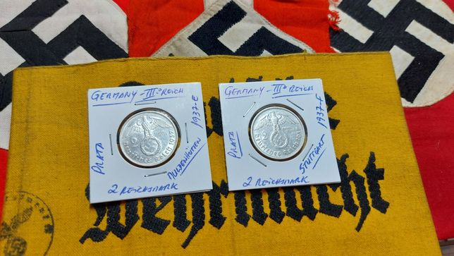 2 reichsmark 1937 PRATA suástica Alemanha nazi ORIGINAL