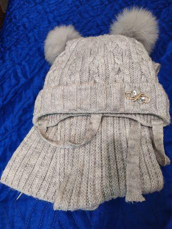 Зимняя шапка с шарфом