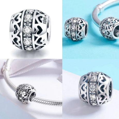 Charms do bransoletek Pandora serca urok z cyrkoniami s 925