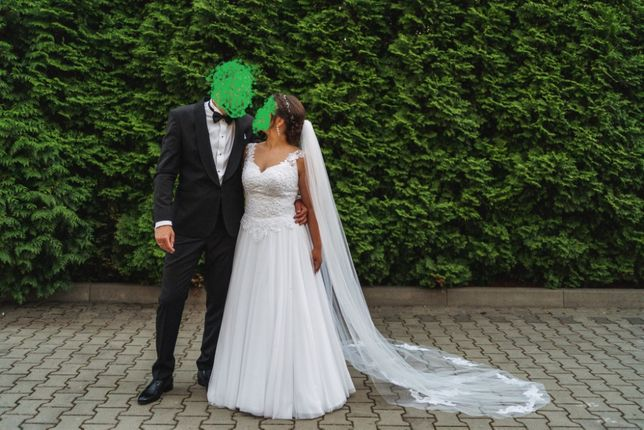 Suknia ślubna - śnieżnobiała, wiązana + długi welon