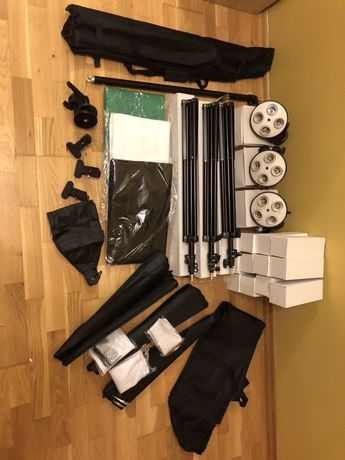 Studio foto 3x softbox wysięgnik 3x tło 12x żarówka