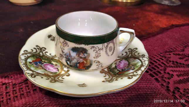 Stara filiżanka scenki przełom XIX/XX wieku porcelana Lefton