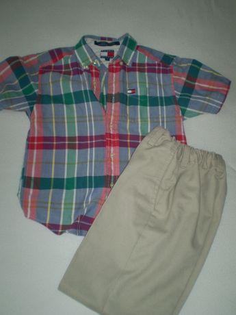 Elegancki zestaw spodnie , koszulka i sweterek, rozmiar 122