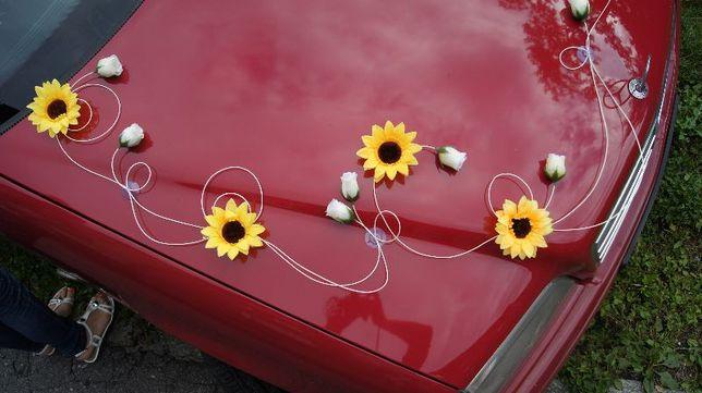 Dekoracja samochodu do ślubu, ozdoby weselne słoneczniki