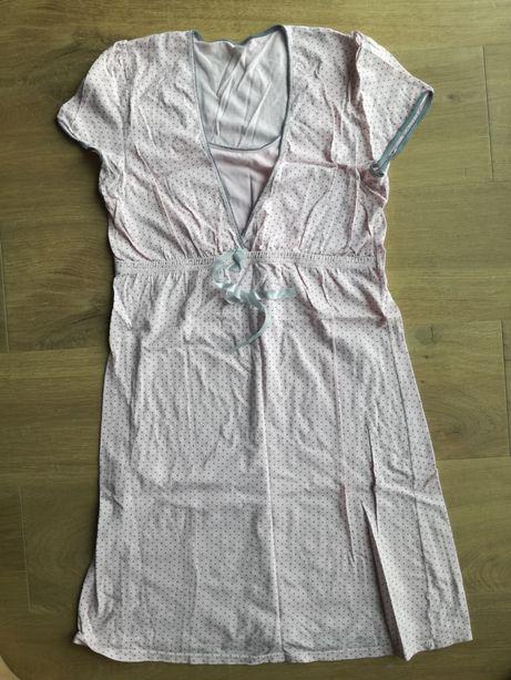 Koszula nocna ciążowa Italian Fashion, R. M/38. Różowa w kropki.