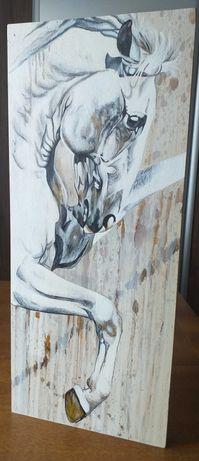 Promocja! Koń, akryl na rdewnie, deska dębowa 3 cm gruba, 29 x 70 cm