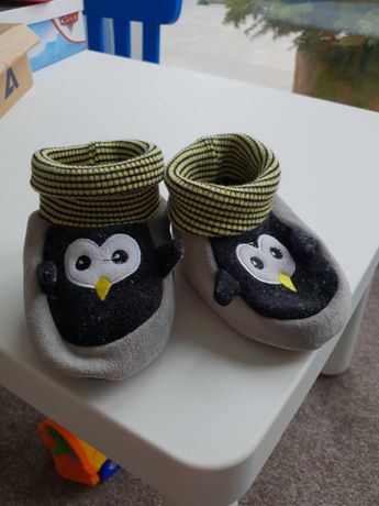 Kapcie  miękkie pingwiny - 14 cm